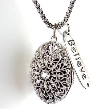 Sterling Silver essential oil Diffuser Necklace locket, Believe  Aromatherapy essential oils
