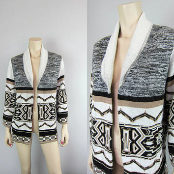 Vintage 70s Southwestern Space Dye Indian Tribal Aztec Sweater Shawl Collar Bell Sleeve Cardigan Boho Navajo Jacket