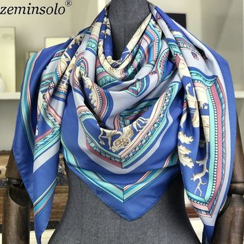 Poncho Silk Scarf Women Luxury Brand Foulard Hijab Square Scarves Fashion Horse Print Wraps Colorful Bandana Shawl 130*130cm New