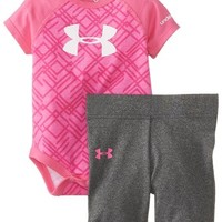 Under Armour Baby-Girls Newborn Call Me Boss Baselayer, Chaos/Fevela Lace Print/White, 3-6 Months