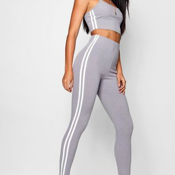 Side Stripe Square Neck Knitted Set   Boohoo
