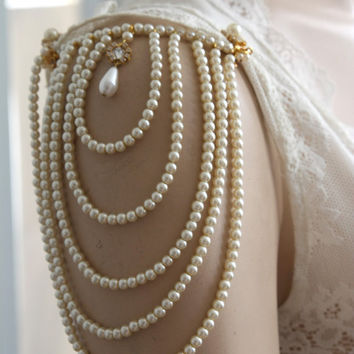 Shoulder Epaulettes, Bridal Wedding ,Ivory Pearls And Rhinestone, 1920 Inspiration, Dress Sleeves Accessories, Shoulders Necklace, OOAK