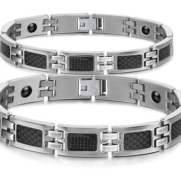 CARBON FIBER CUFF STAINLESS STEEL MEN AND WOMEN'S BRACELET SETS