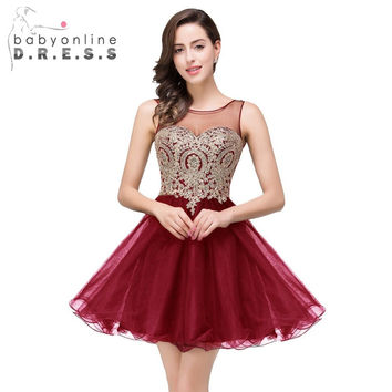 Babyonline Stylish Burgundy Short Prom Dresses Gold Lace A-line Sheer Tulle Party Dresses Sexy Open Back Crystal Mint Green