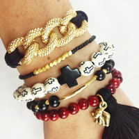 Crimson and Black Boho Bracelet Stack
