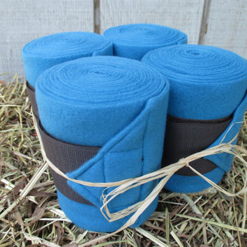 Set of 4 Polo Wraps for Horses- Turquoise with Charcoal Grey Velcro Closure