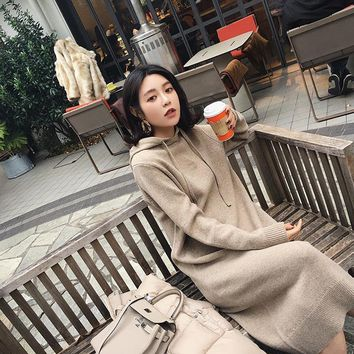 Elegant Robe Femme Ete 2018 Casual Summer Women Autumn Hiver  Loose Hoodie Rok Pullover Tricot Uzun Long Sleeve Dress