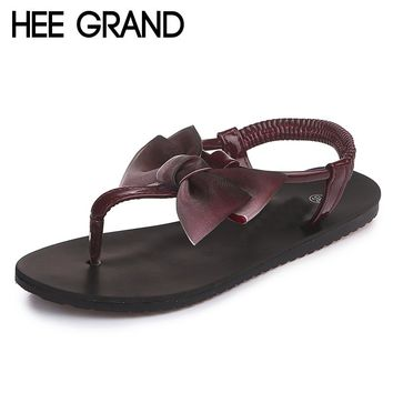 HEE GRAND Butterfly-Knot Slip-On Sandals
