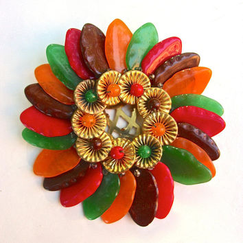 CZECH Art Deco Multi Color Dress Clip Glass Flower Hand Wired Large Vintage