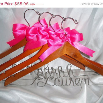 3 DAY SALE Set of 4 - Personalized bridesmaid gift, bridesmaid hanger,  ask your bridesmaid, bridal party hanger,  wedding hanger