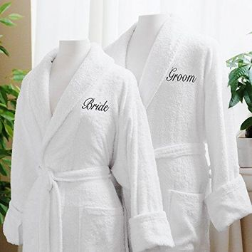 Couple's Terry Cloth Bathrobe Egyptian Cotton Unisex One Size Fits Most Luxurious Soft Plush