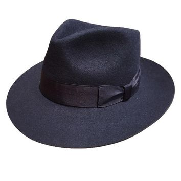 Classic Deep Blue  Wool  Men's Fur Felt Fedora Hat Gangsters  Hipsters