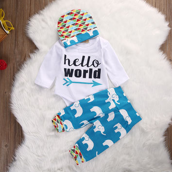 Lovely Infant Girl Boy Top Romper Elephant Pants Leggings Hat Casual 3pcs Baby Boys Clothing Outfits Set