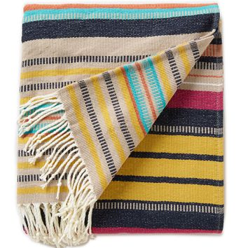 Noble Excellence James Striped Knit Fringe Throw | Dillards