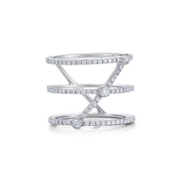 Bessa Three-Row Stacked Illusion Ring with Diamonds, Size 6.5