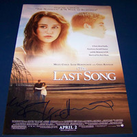 """Miley Cyrus/Hemsworth Autographed 12x18""""The Last Song"""""""