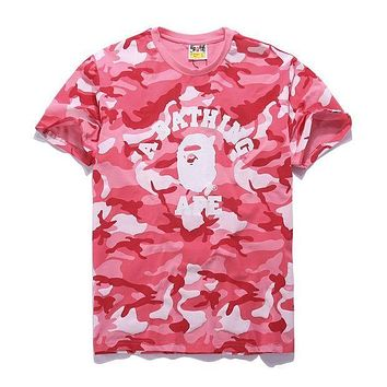 DCCKR2 Bape Aape Stylish Camouflage Print Cotton Short Sleeve T-Shirt Top Pink I