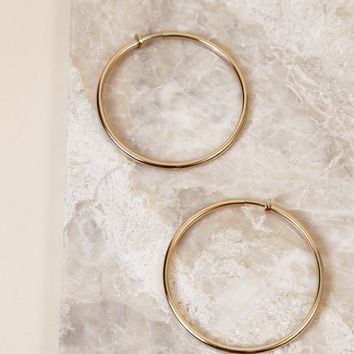 Large Clip On Hoop Earring, Gold