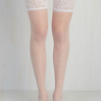 Stay in Lace Thigh Highs in White | Mod Retro Vintage Tights | ModCloth.com