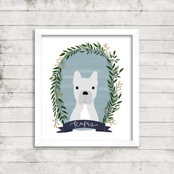 Custom Hand Illustrated Pet Portrait 8x10 Print | Foliage Wreath | Painted Portrait | Animal Portrait | Gift Idea | Birthday Gift