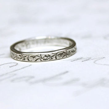 skinny wedding ring with vines . thin wedding band . recycled silver engraved xo ring . love token sweethearts ring created in your size