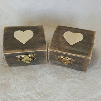 Set of 2 Distressed Rustic Wedding Ring BOx Gift Box Trinket Box Wedding Decor HIS/HERS