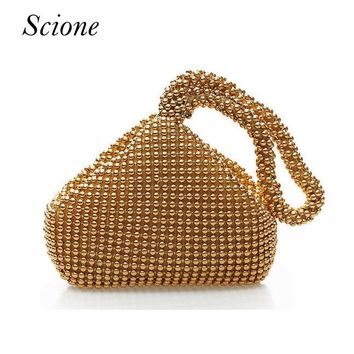 2018 Korea Style Candy color Luxury Evening bags Women tote beaded Wedding Party day clutches wrist bags mini phone holder Li222