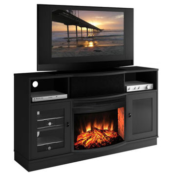 Furnitech FT64CFB Ambience Contemporary 64-Inch Matte Black TV Console with 25-Inch Curved Electric Fireplace