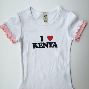 I Love Kenya Little Girls Lettuce Edge Short Sleeve Top