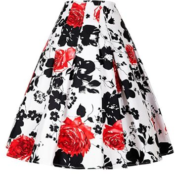 Women Vintage Pleated A Line Flare Skirt with Pockets CL8925