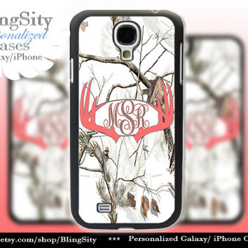 Monogram Galaxy S4 case S5 Coral Antlers Real Tree Camo White Deer Personalized Browning Samsung Galaxy S3 Case Note 2 3 Cover Country Girl