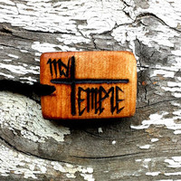 "Natural Wooden ""My Temple"" Pendant Necklace 
