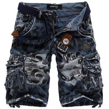 Summer Men Camouflage Pants Beach Pants Cotton Overalls