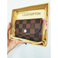 LV Louis Vuitton Pink Buckle Key Packet PU Small Coin Purse Wallet Key Pouch High Quality