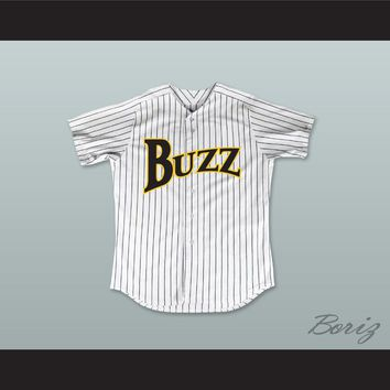 Juan Lopez 11 Buzz White Pinstriped Baseball Jersey Major League: Back to the Minors