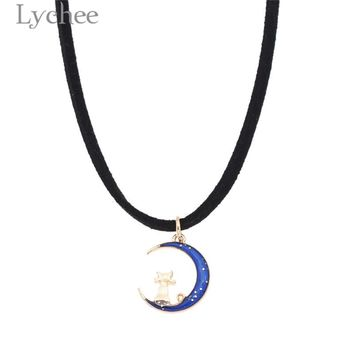 Lychee Trendy Alloy Sailor Moon Pendant Necklace Lovely Cat Pink Purple Blue Necklace Fashion Women Jewelry Gifts For Girls