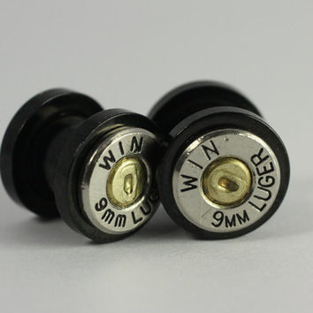 "8mm 0 Gauge 5/16"" Winchester 9mm Bullet Ear Plug Earring Plugs Steam Punk Cartridge Plugs Ear rings 1911 Brass"
