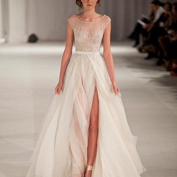 2016 Paolo Sebastian Sheer Chiffon Beach Wedding Dresses High Slit A Line Cap Sleeves Beaded Bridal Gowns 2016