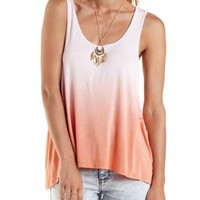 Light Coral Slouchy Dip-Dye Tank Top by Charlotte Russe