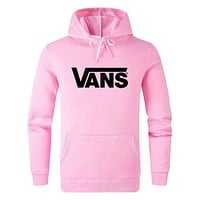 Vans 2019 new classic letter print hooded sweater Pink