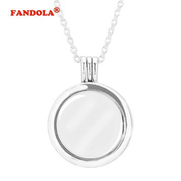 Compatible With European Jewelry Medium Floating Locket Silver Necklace Original 100% 925 Sterling Silver Jewelry DIY FLN027