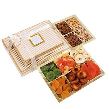 2 Tier Deluxe Dried Fruit Gift Platters & Gift Boxes