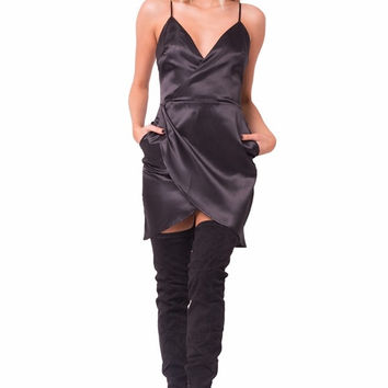 """""""Night is Young"""" Black Satin Overlay Dress"""