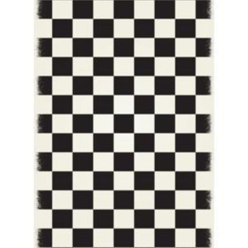English Checker Design  Size Rug: 5ft x 7ft black & white colors with a weather aged finish super durable and multilayer technical grade vinyl rug.