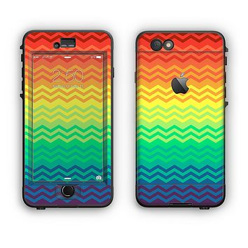 The Rainbow Thin Lined Chevron Pattern Apple iPhone 6 Plus LifeProof Nuud Case Skin Set