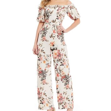 Antonio Melani Lacy Floral Print Off-the-Shoulder Jumpsuit | Dillard's