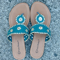 Preppy Sandal - Turquoise Combo