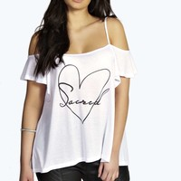 Sophie Printed Open Shoulder Top
