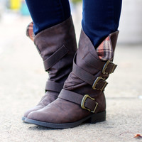 Norris Plaid Boots {Brown}