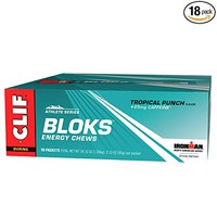 CLIF BLOKS - Energy Chews - Tropical Punch - With Caffeine (2.1 Ounce Packet, 18 Count)